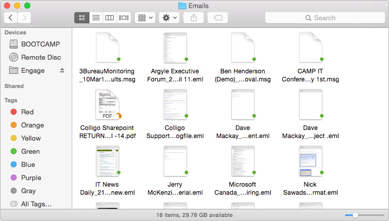Mac Emails in Finder view