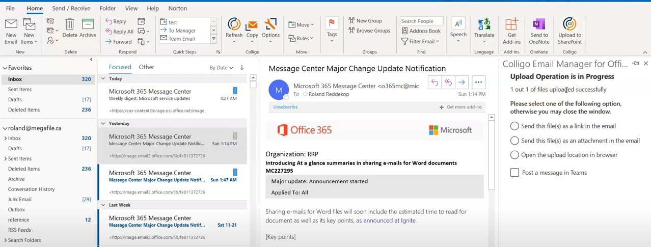 Colligo email manager integrates with OneDrive and MS Teams