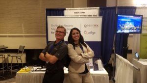 Barry Jinks (Colligo founder) and Amina Elgouacem (Neostek founder & CEO) at KMWorld