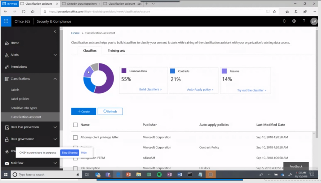 Screenshot of the O365 Classification Assistant