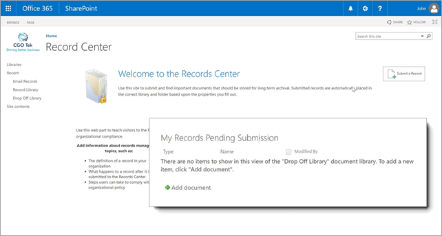 The Drop Off Library in SharePoint is shown here