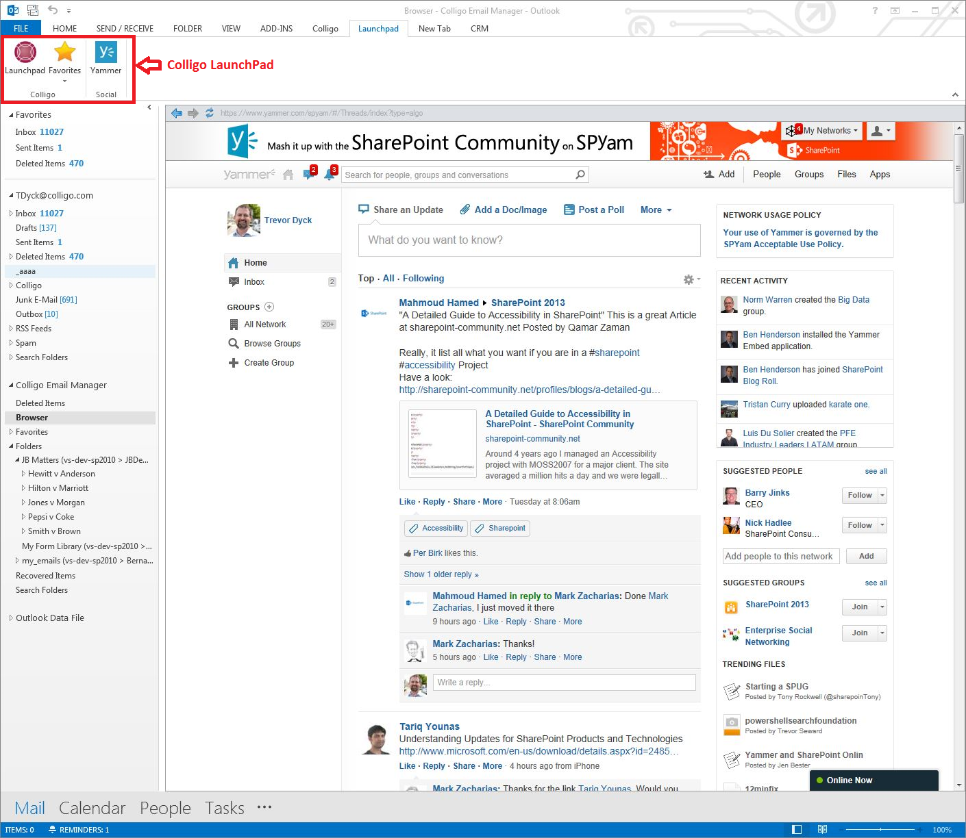 Yammer_Outlook_1_w_LaunchPad_highlight