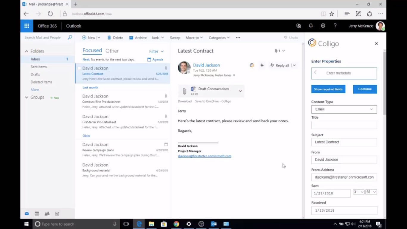 Colligo | Blog | Save Email to SharePoint from Outlook 365 with Metadata and Labels