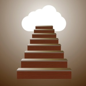 microsoft-move-to-cloud | Photo Courtesy of ThinkStock http://www.thinkstockphotos.com/image/stock-illustration-vector-concept-wooden-ladder-with/460650849